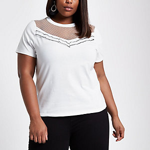 Plus mesh front frill T-shirt
