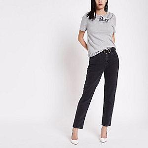 T-shirt manches courtes gris à strass