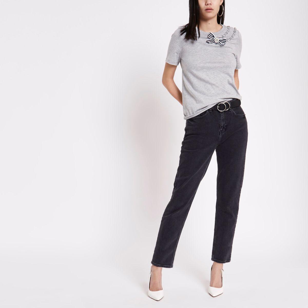 Grey short sleeve rhinestone T-shirt