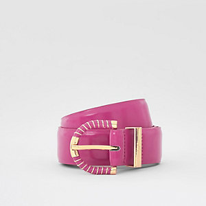 Pink wrapped buckle jeans belt