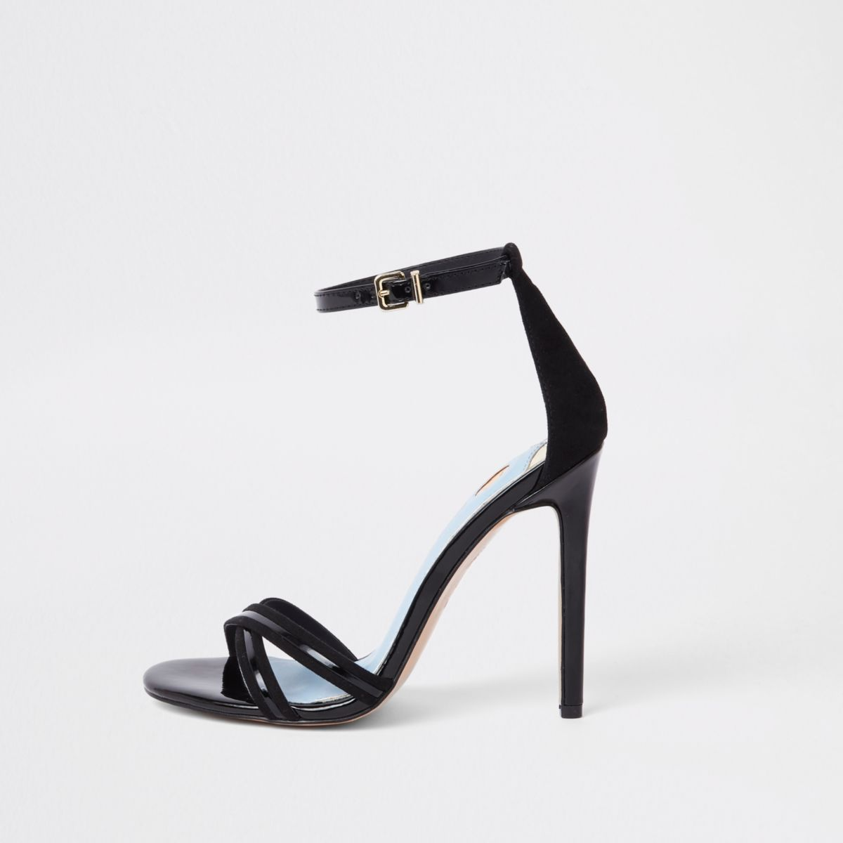 Black Cross Strap Barely There Sandals by River Island