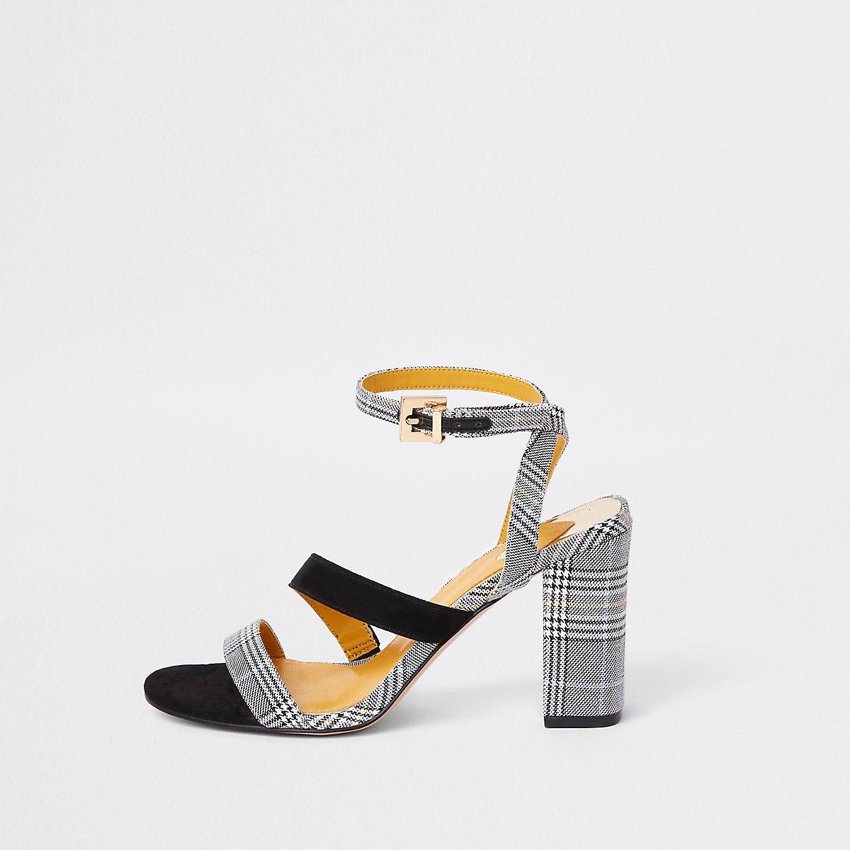 Grey check strappy asymmetric sandals
