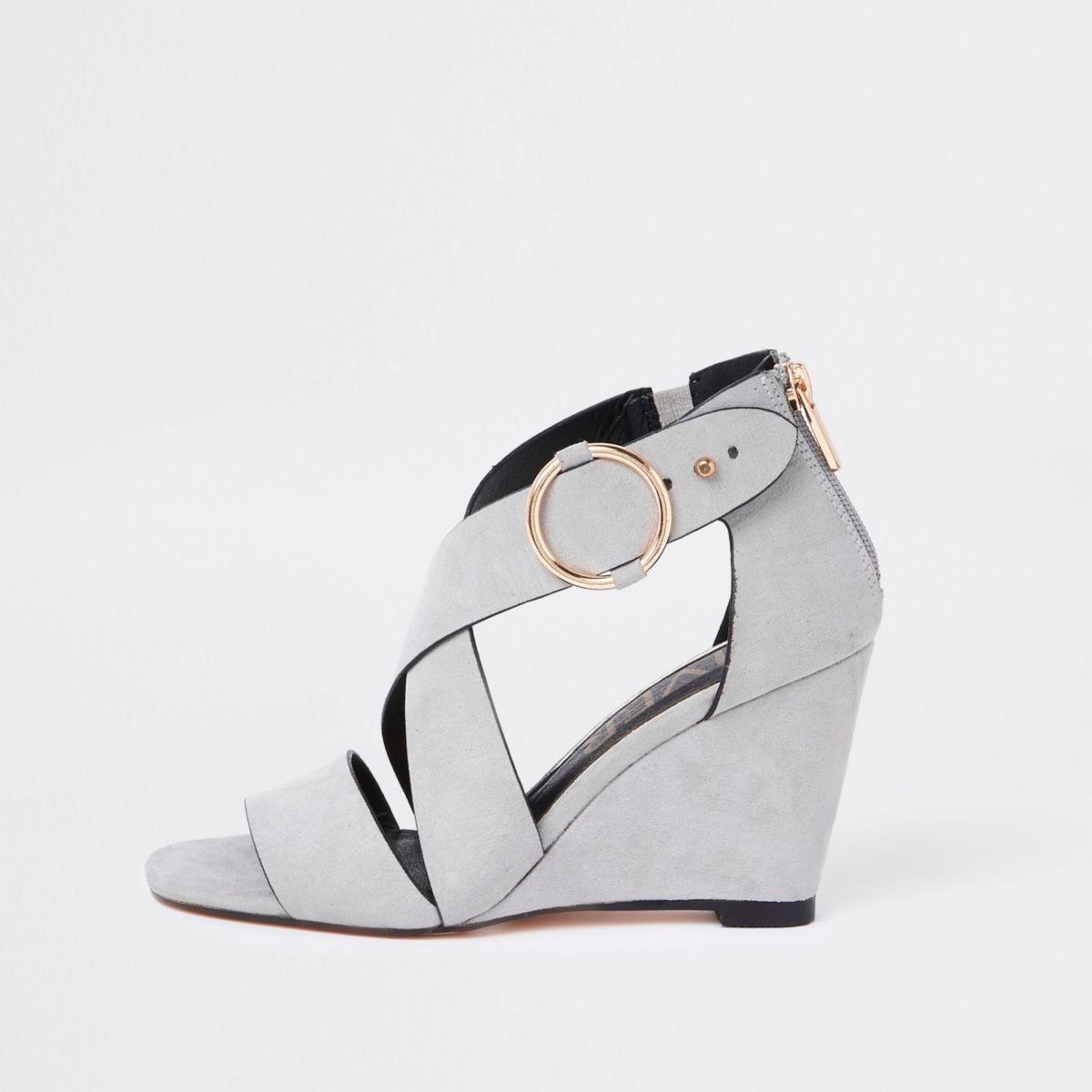 Grey cross strap wedge sandals