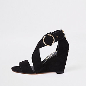 Black cross strap wedge sandals