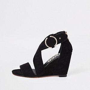 Black cross strap wedge sandals