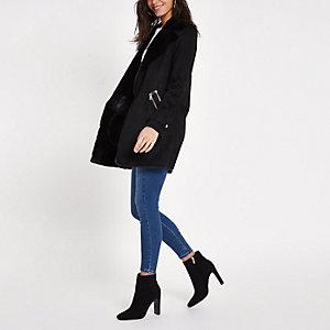 Black faux suede fallaway jacket