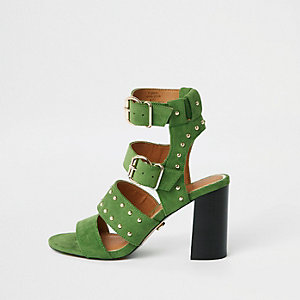 Green suede studded block heel sandals