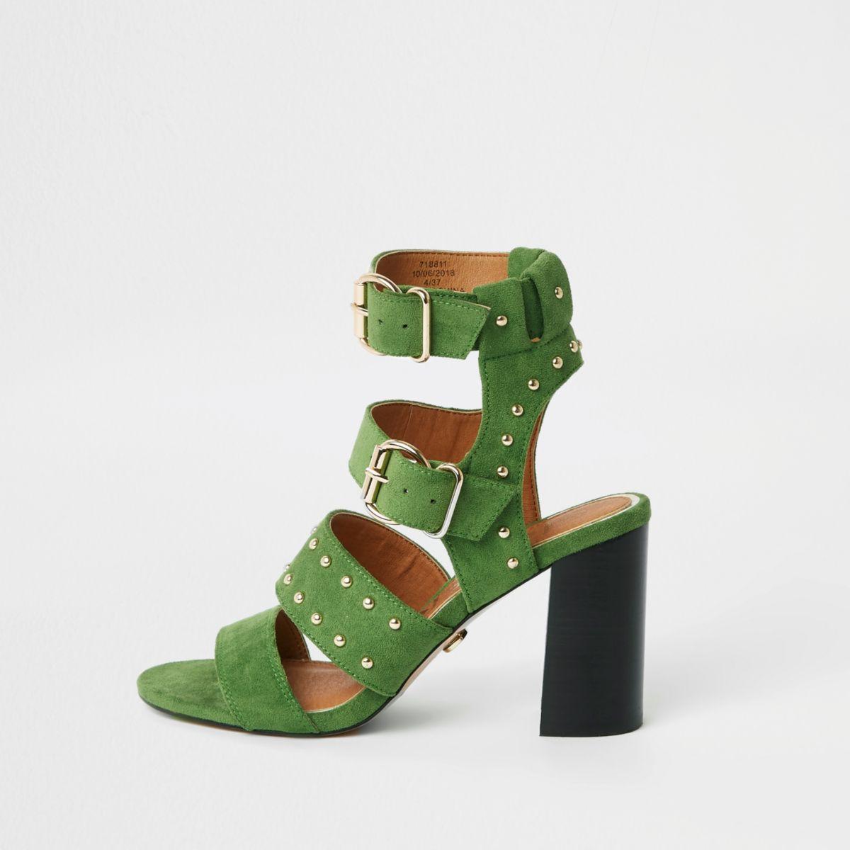 Green suede studded block heel sandals