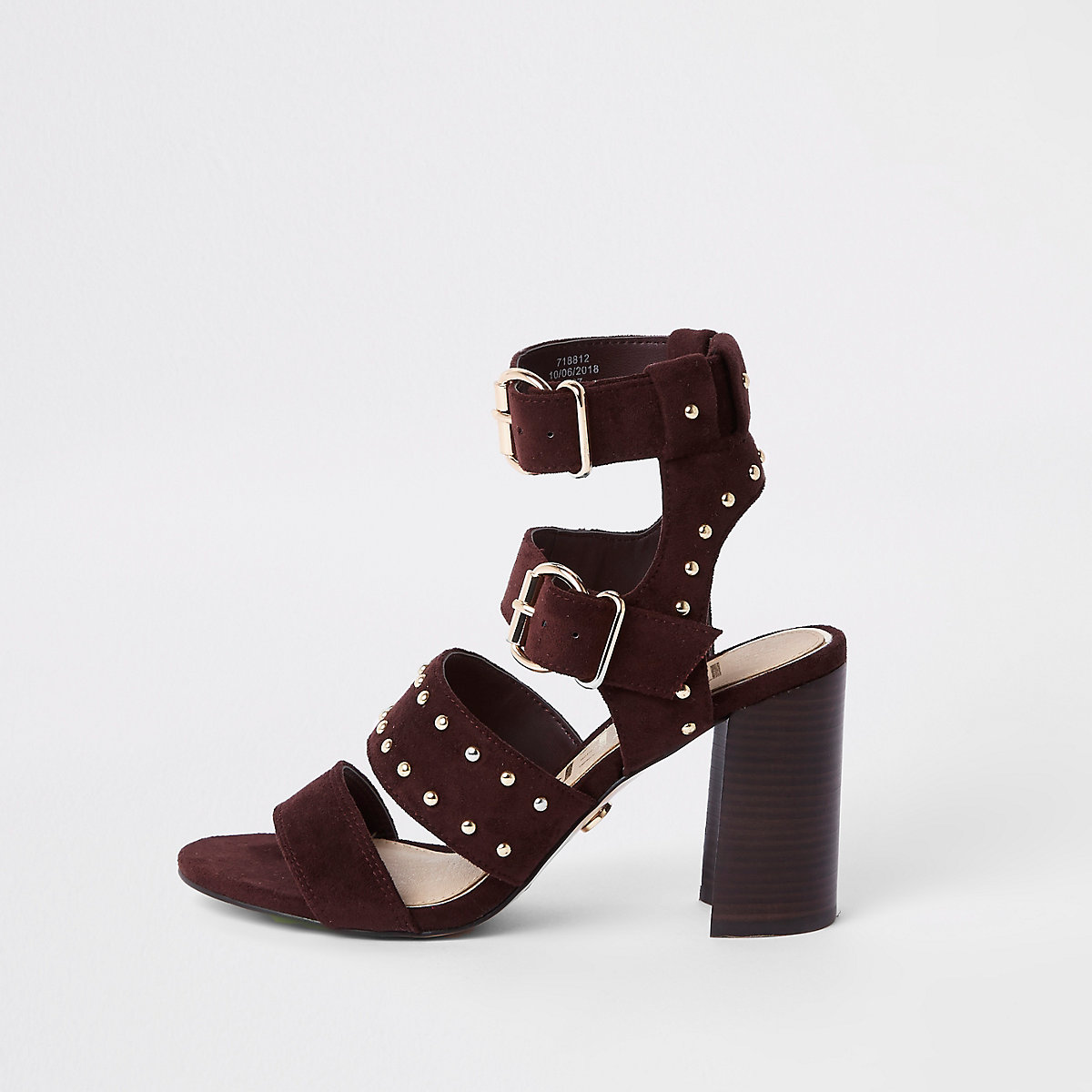 Dark red suede studded block heel sandals