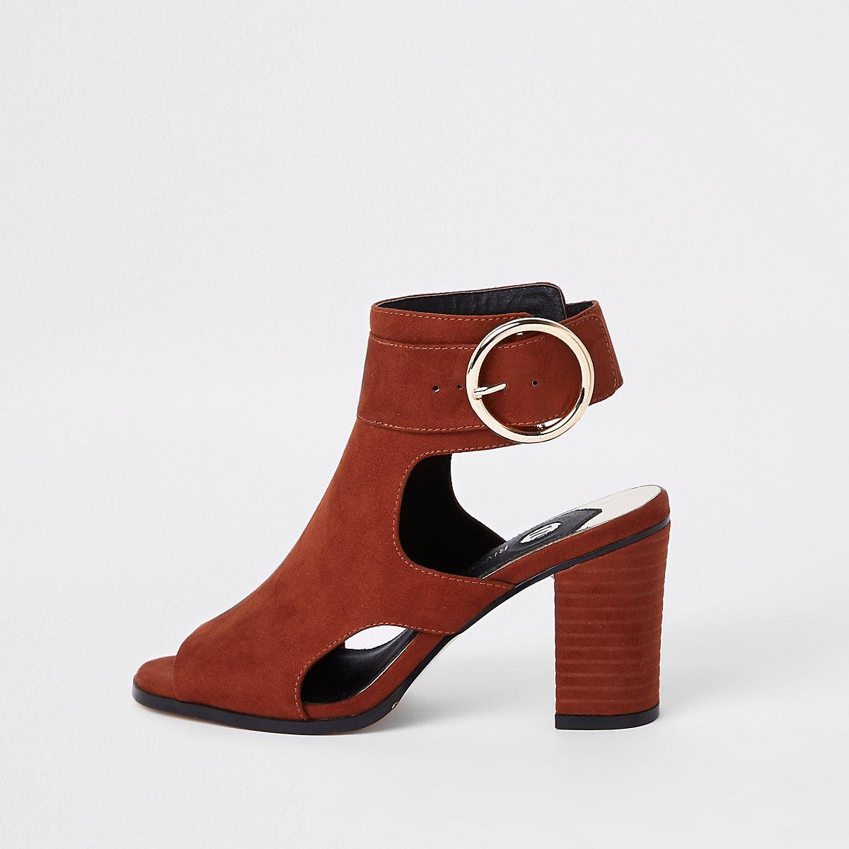 Rust faux suede buckle shoe boots