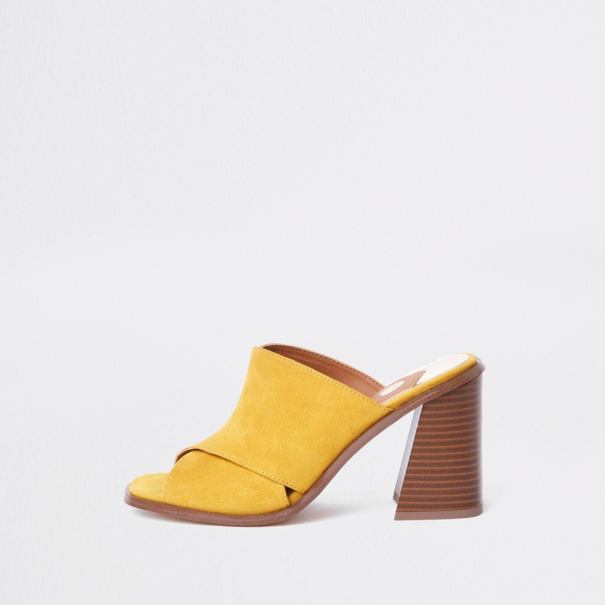 Yellow cross strap block heel mule sandals