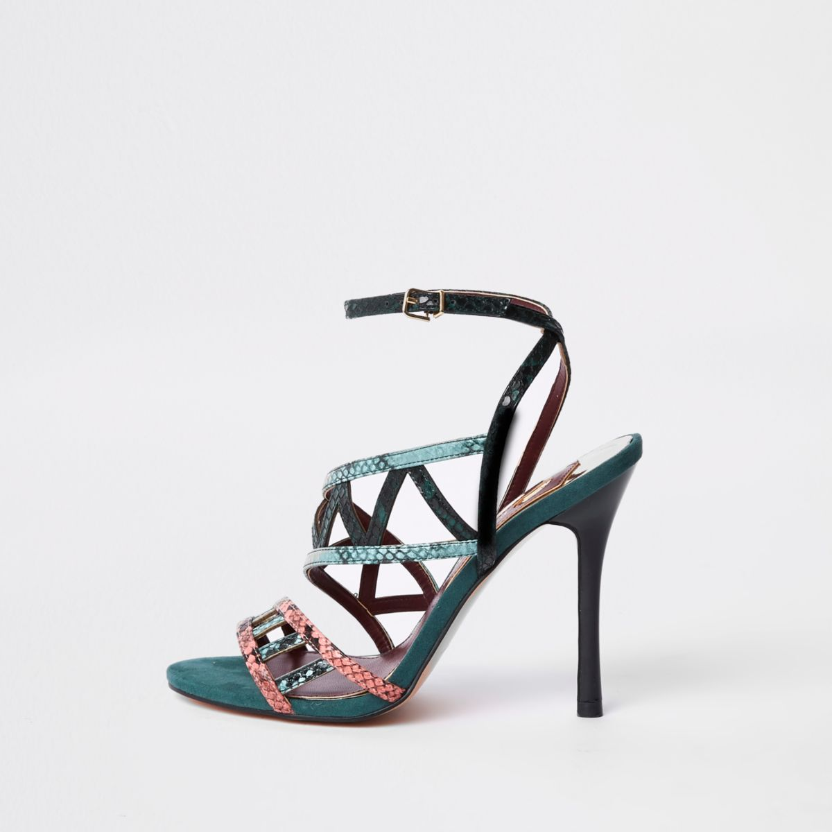 Green snake embossed strappy sandals