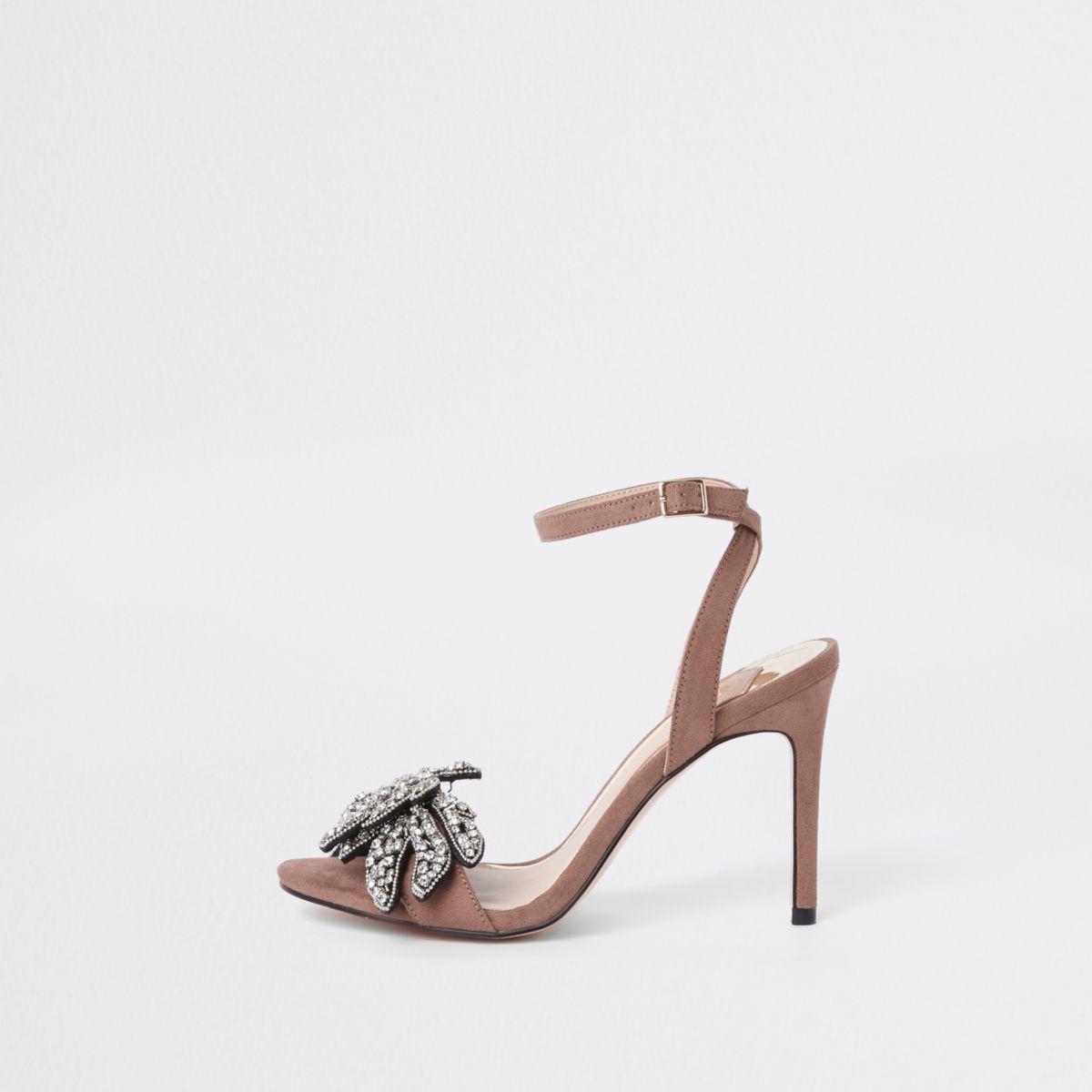 Pink rhinestone embellished barely there sandal
