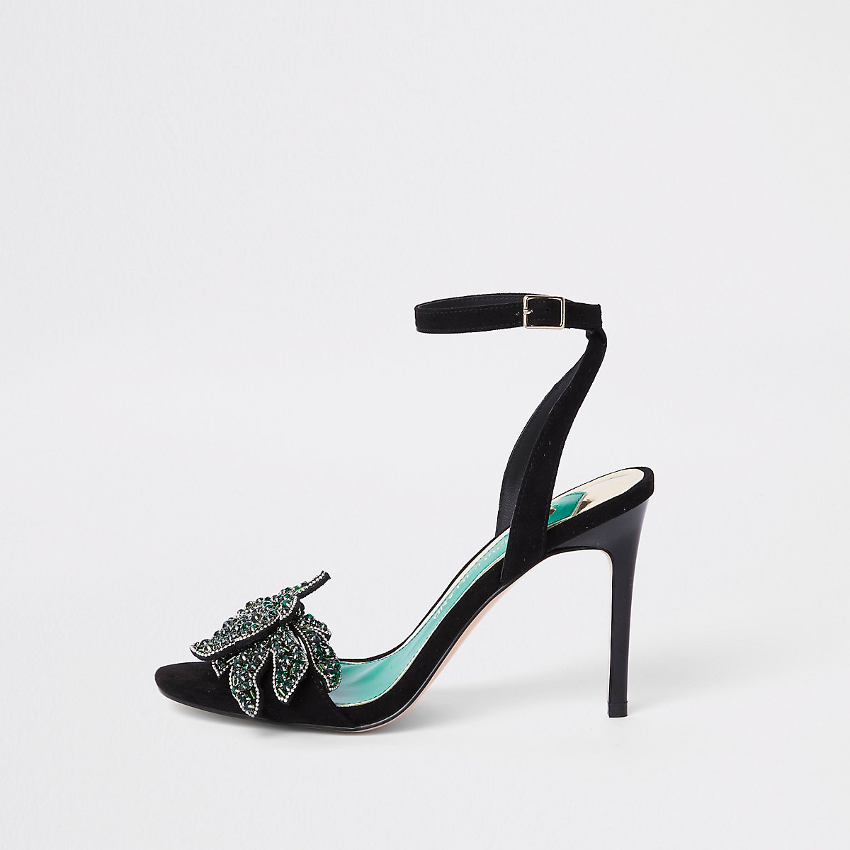 Zwarte verfraaide sandalen met smalle hak