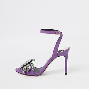 Purple embellished barely there sandals