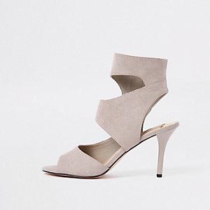 Grey strappy skinny heel mule sandals