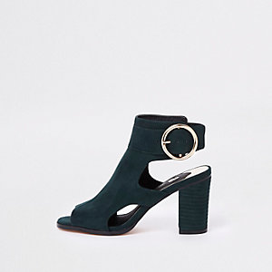 Green suede circle buckle shoe boots