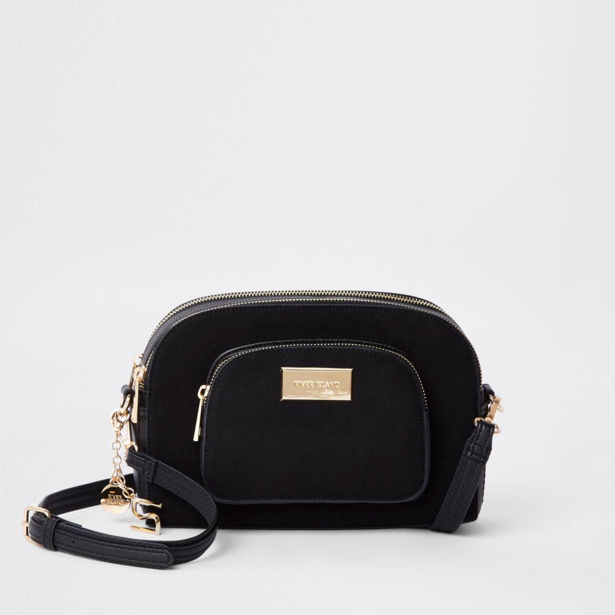 Black curved cross body bag