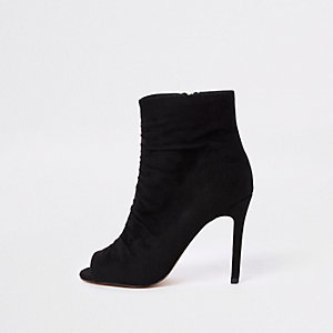 Black faux suede open toe shoe boot