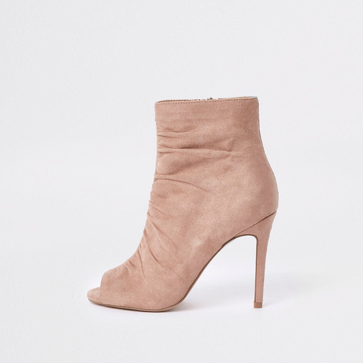 Light pink faux suede open toe shoe boot