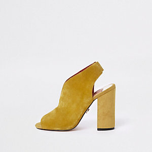 Yellow suede curve vamp block heel shoe boots