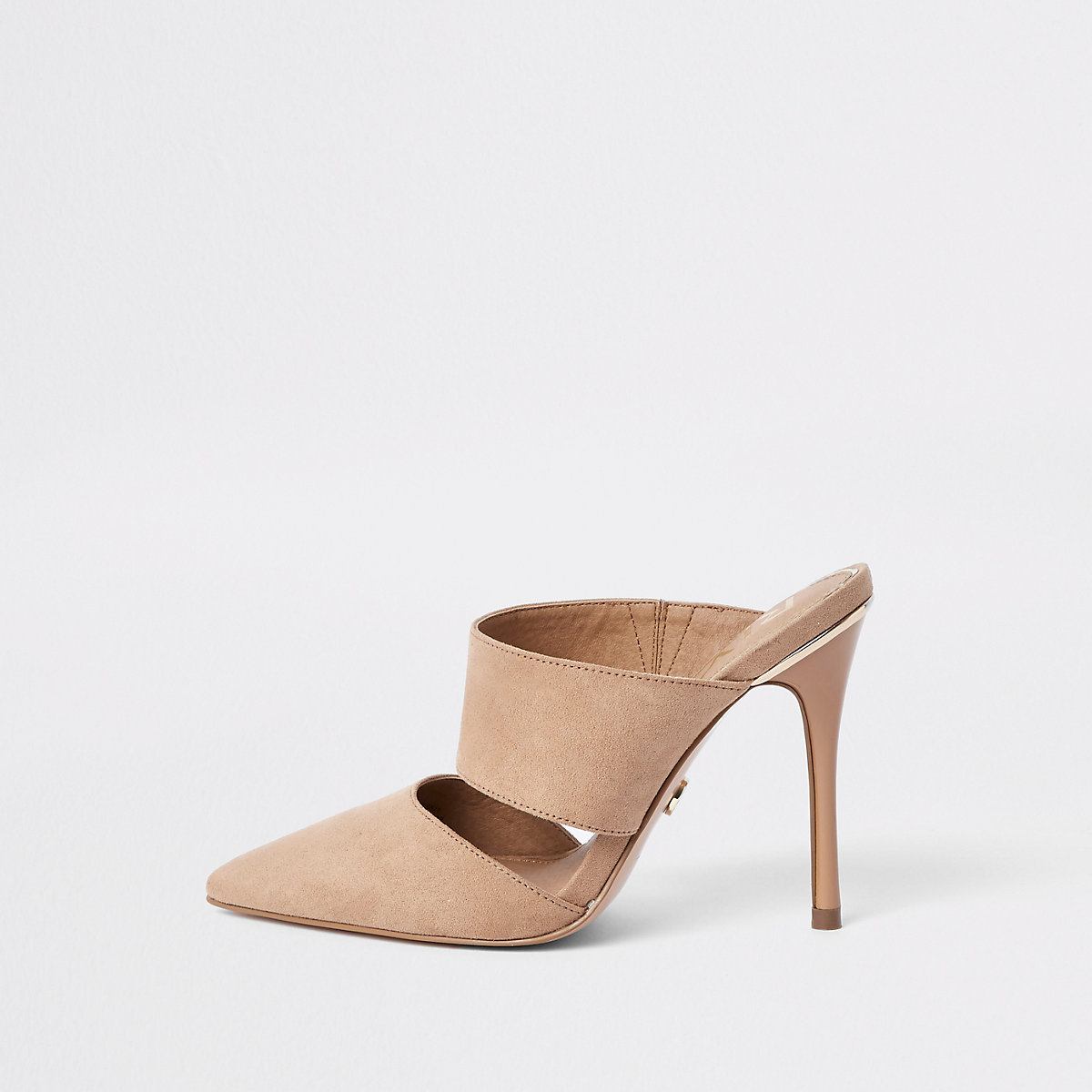 Pink pointed toe stiletto mules