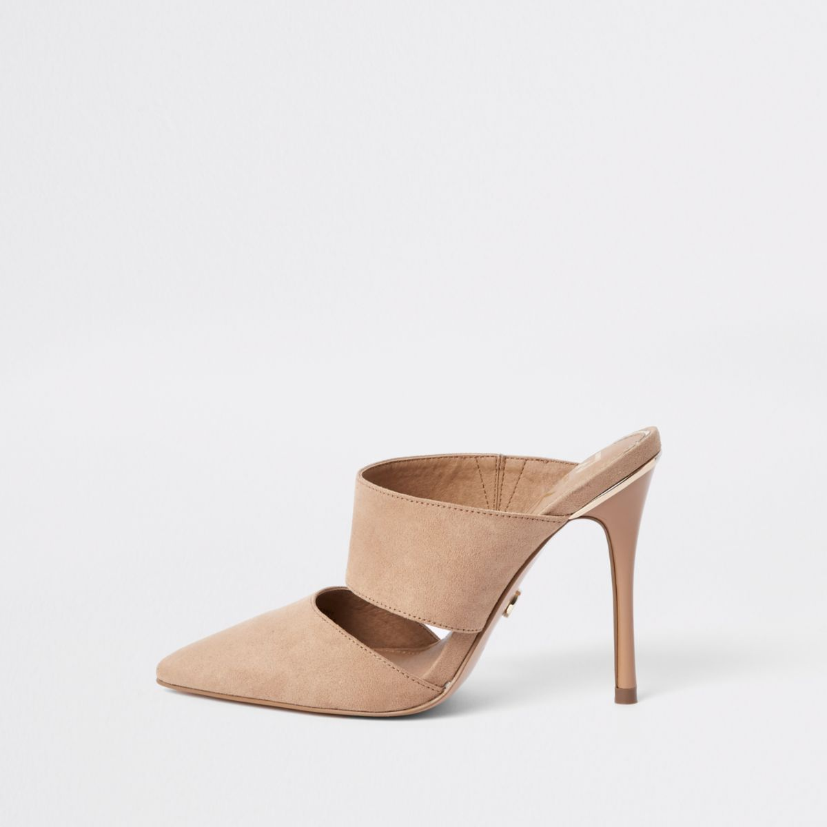 Pink Pointed Toe Stiletto Mules by River Island