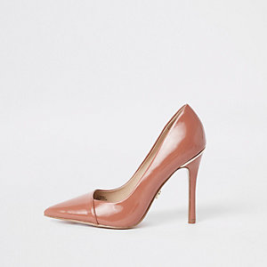 Brown patent wrap around pumps