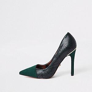 Dark green croc fold front court shoes