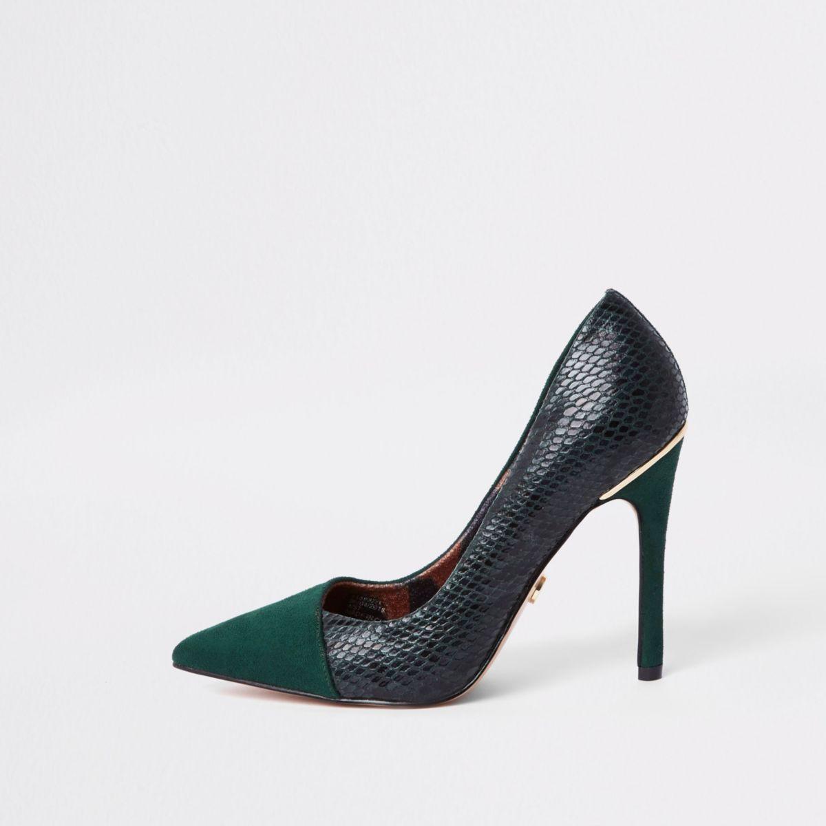Dark green croc fold front pumps