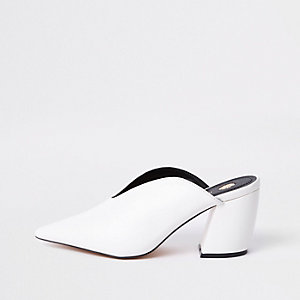 White curved heel mules