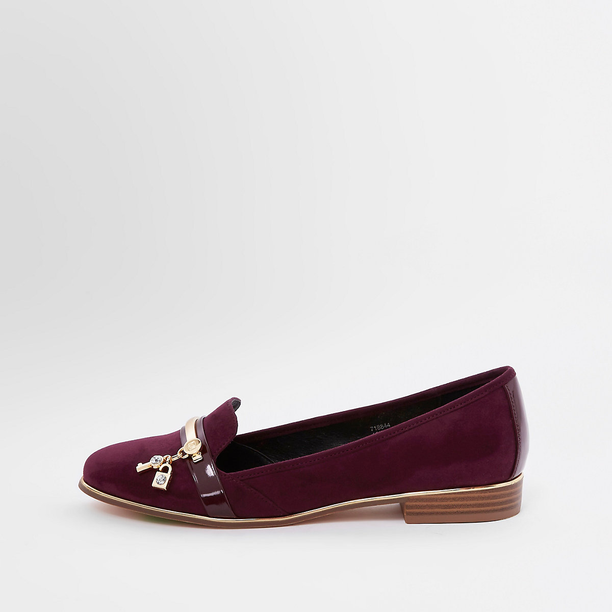 Red lock and key patent loafers