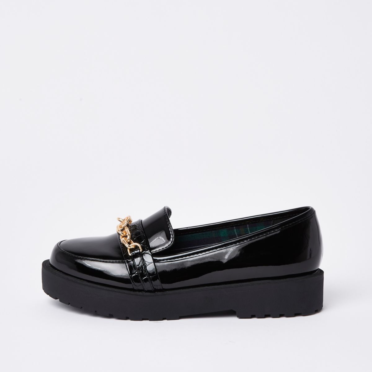 Black chunky chain loafers