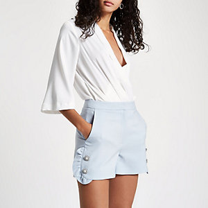 Blue diamante pearl embellished frill shorts