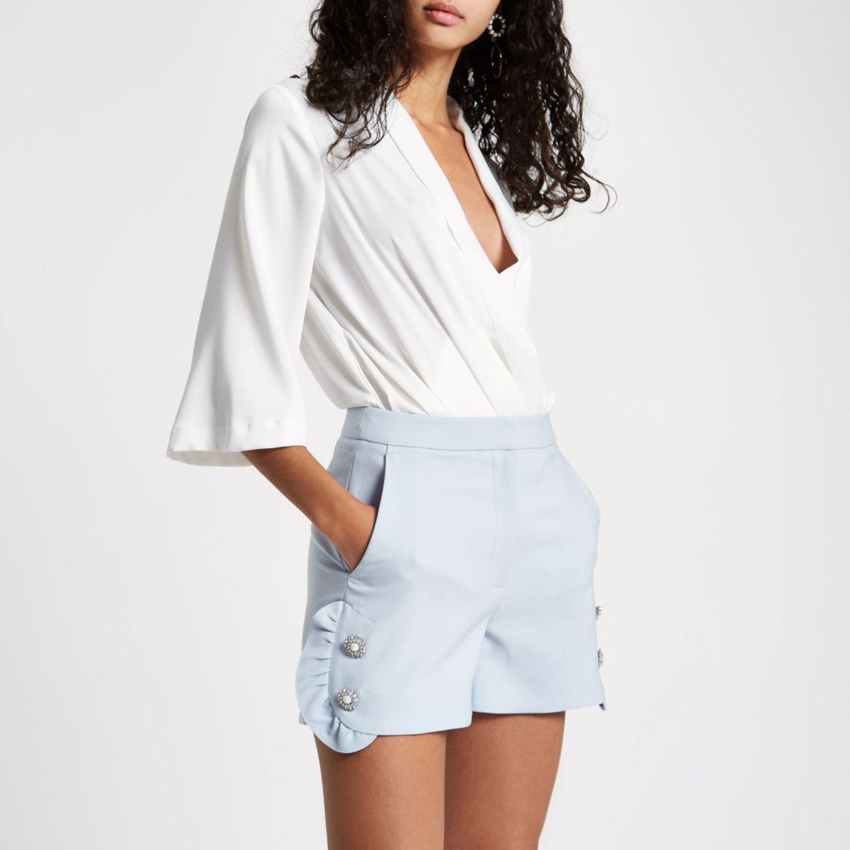 Blue rhinestone pearl embellished frill shorts