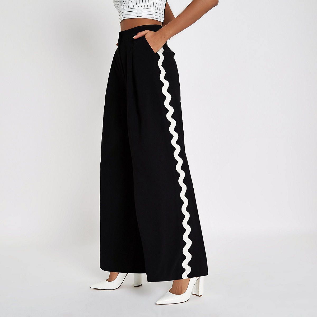 Black side trim wide leg trousers