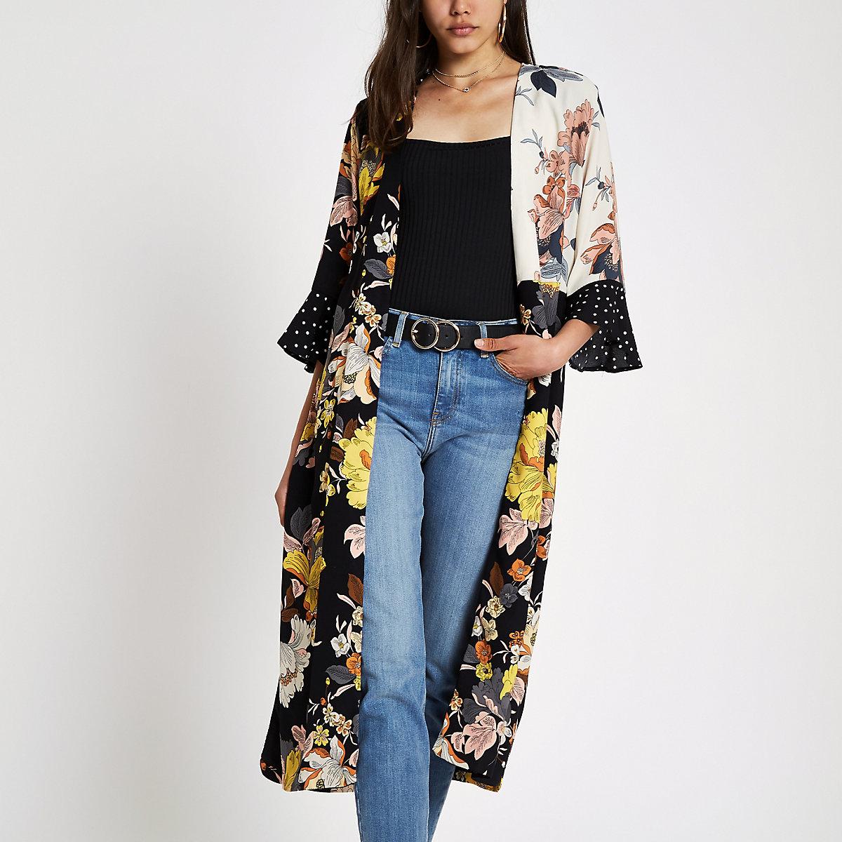 Black mixed floral print duster coat