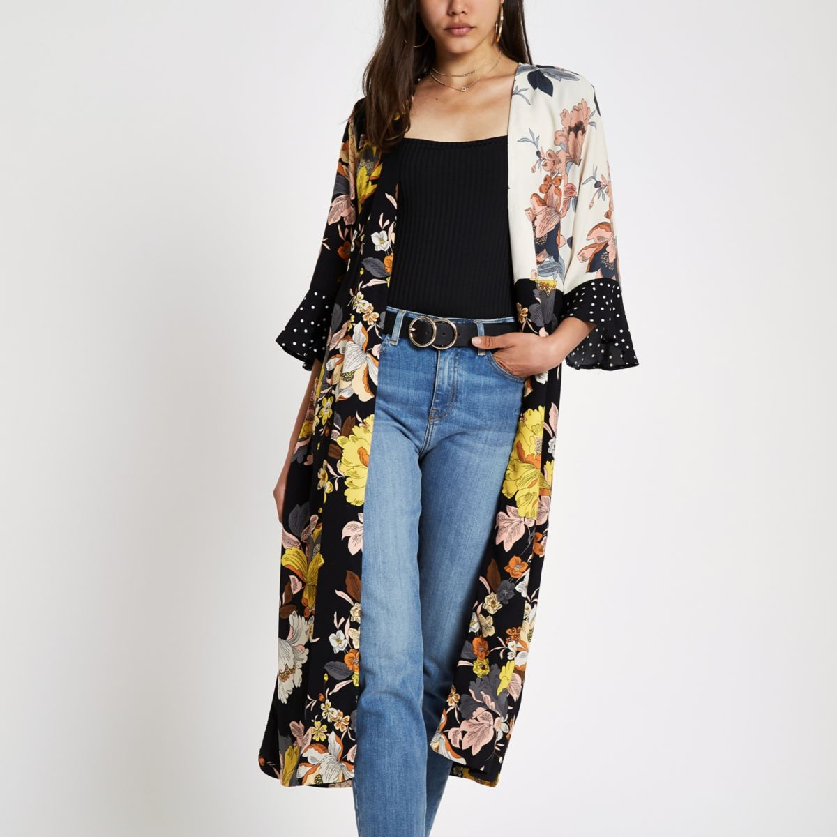 Black mixed floral print duster coat