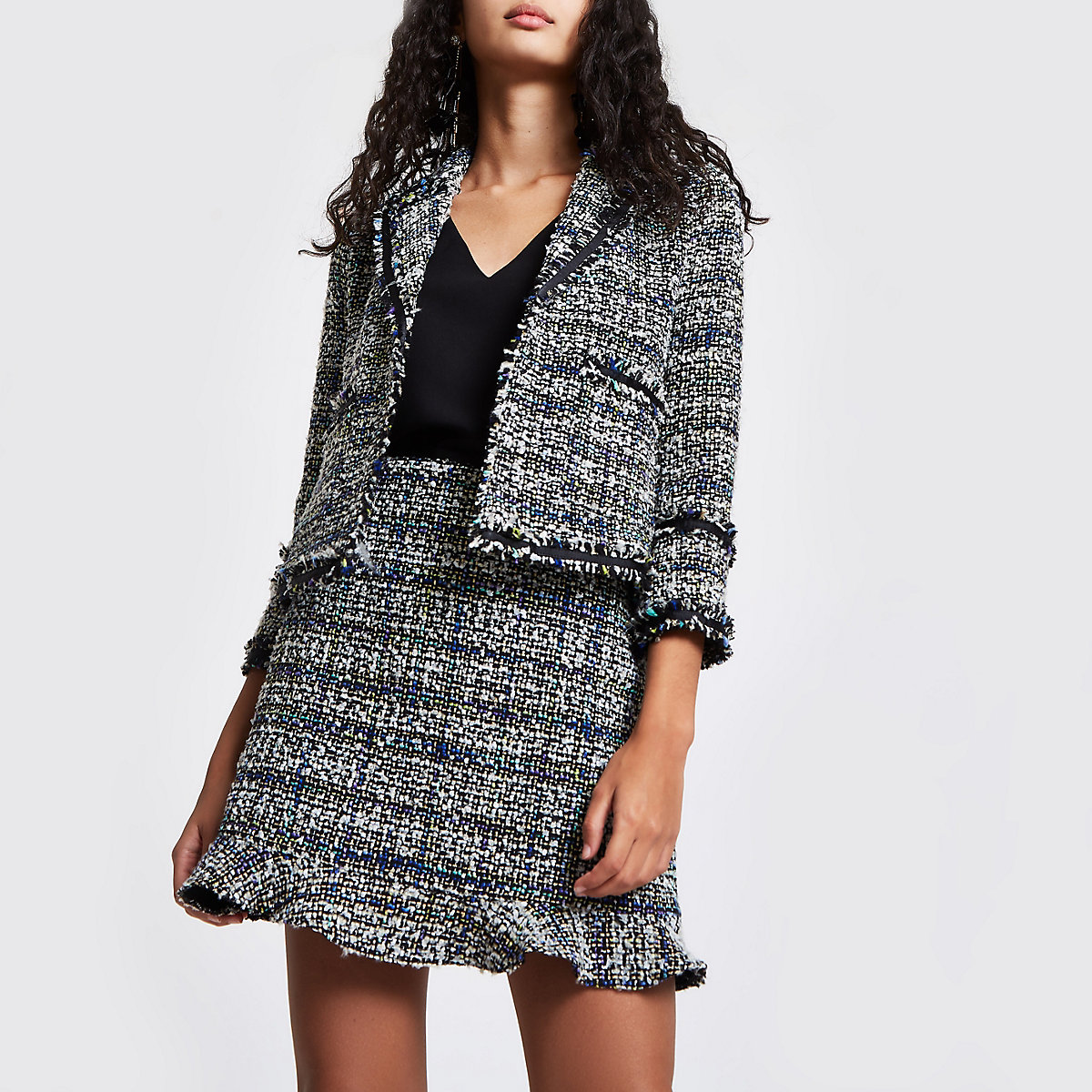 98107bd1f212c Black boucle glitter blazer - Jackets - Coats   Jackets - women