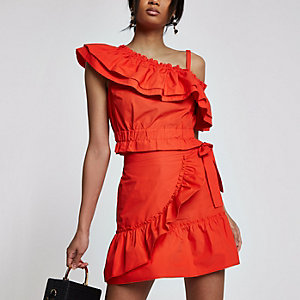 Red poplin frill wrap mini skirt