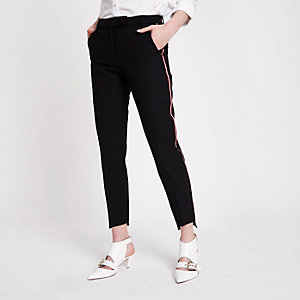 Black side stripe straight leg pants