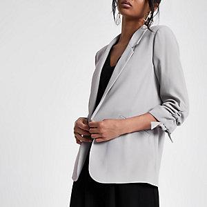 Grey  rouche sleeve blazer