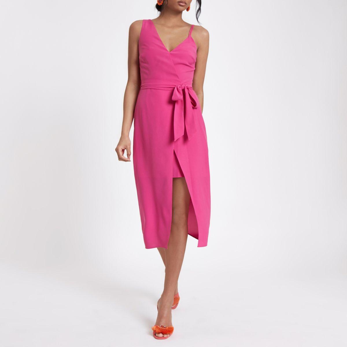 Bright pink one shoulder tie waist dress