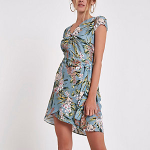 Blue floral button front wrap mini dress