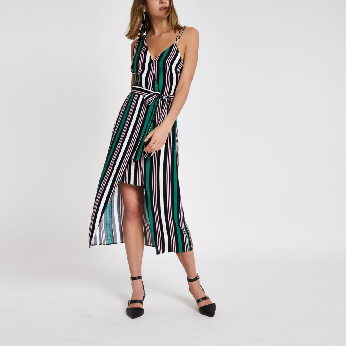 Green stripe print one shoulder midi dress