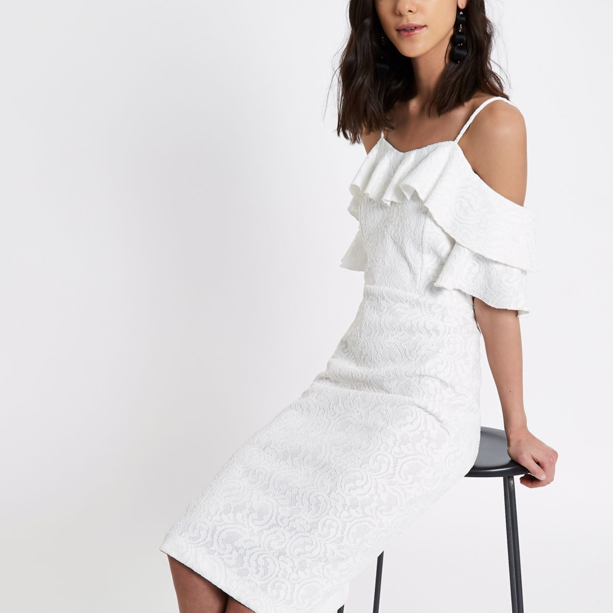 White frill bardot bodycon mini dress