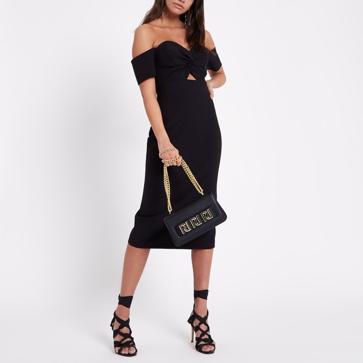 Black bodycon short sleeve dress