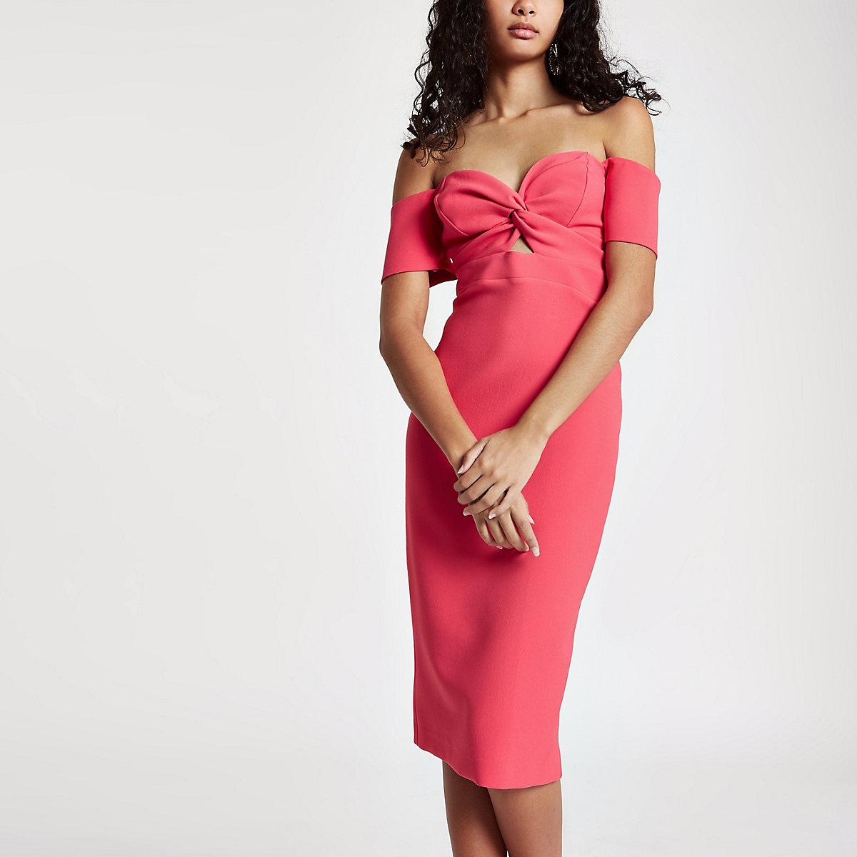 Bright pink bardot bodycon dress