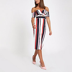 Black stripe knot front bardot bodycon dress