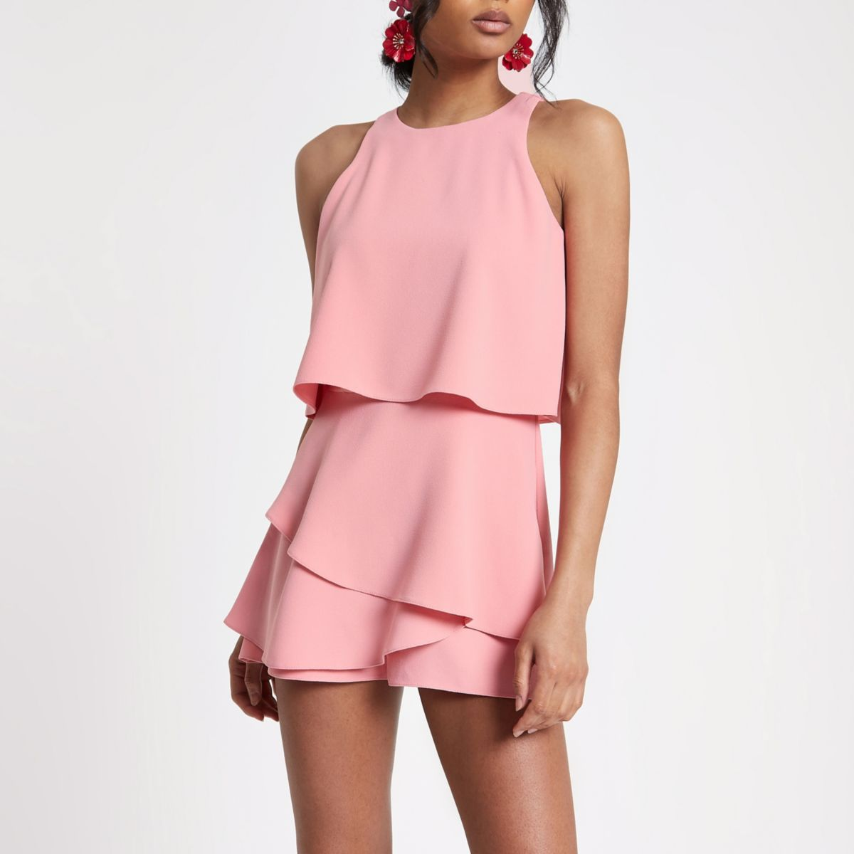Pink tiered frill romper